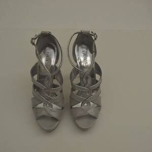 Silver Guess Heels size 10